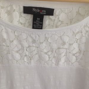 🌲NWT STYLE & CO WHITE T SHIRT LACE TOP 3X